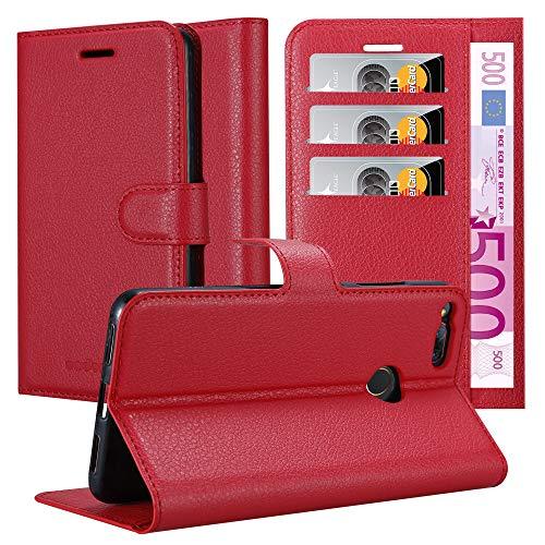 Cadorabo Hülle für ZTE Nubia Z17 Mini - Hülle in Karmin ROT - Handyhülle mit Kartenfach & Standfunktion - Case Cover Schutzhülle Etui Tasche Book Klapp Style