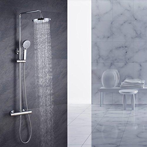 Bemmer VM107 Regal Duschsystem Sets mit Thermostat Duschset mit Rainshower Duscharmatur Handbrause Duschkopf Regendusche Dusche Armatur Badewanne Badezimmer