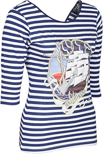 Küstenluder HOMEWARD BOUND Striped Sailor 3/4 Arm Backless SHIRT Rockabilly -