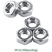 Akozon Tuercas hexagonales SS304 Aguja métrica color plata acero inoxidable Stee(M1.6-100PCS)