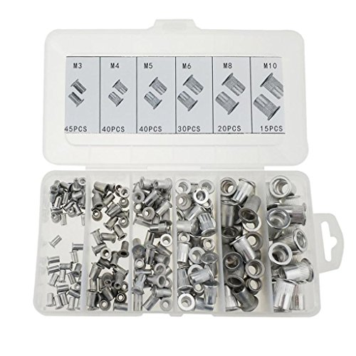 Preisvergleich Produktbild Sharplace 190 Stücke Aluminium Verschiedene Größe Nietmutter Flachkopf Gewindeeinsatz
