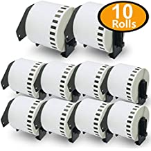 10 Rolls Brother-Compatible DK-22205 62mm x 30.48m Continuous Length Paper Tape