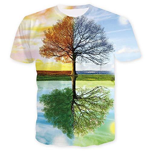 ISAAC ENGLAND Baum T-Shirt Männer 3D Strand Sonnenuntergang Landschaft T-Shirts Sommer Harajuku Kokosnuss T Tops Unisex Kurzarm Clothes-L, A -