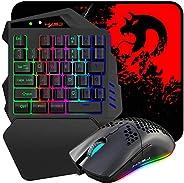Combinazione di tastiera e mouse da gioco con una mano, tastiera da gioco cablata, modalità retroilluminata 8