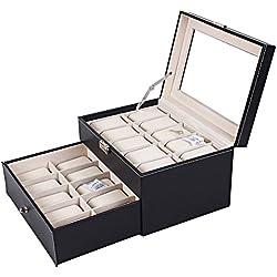 SZTARA Multi-slots Large Watch Display Case Jewelry Box Leather Jewelry Watches Storage Organizer Boxes