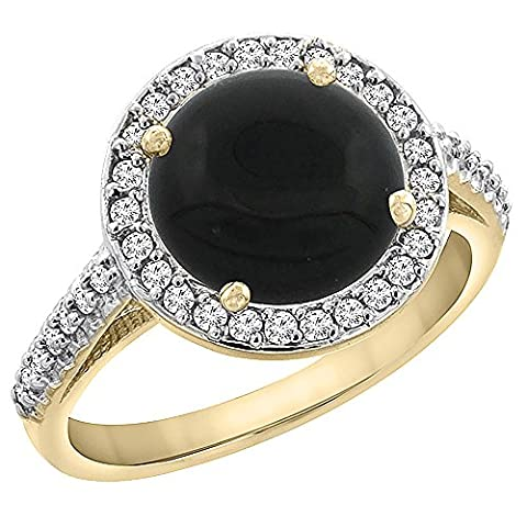 Revoni or jaune 585 or jaune 585/1000 (14 cts) Rond brillant Rond G-H Noir Onyx Diamant FINERING