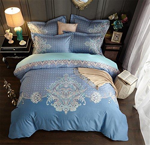 HD-Dreamer Bettwäsche 4 Teilig 100% Baumwolle Mikrofaser Mit Reißverschluss 1*Bettbezug 1*Flaches Blatt 2* Kissenbezüge, Voller Königin Größe, Blumen,200*230Cm