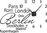 GRAZDesign 800511_BK_070 Wandtattoo Uhr mit Uhrwerk Wanduhr Wohnzimmer Welt Städte Berlin London Rom (82x57cm//070 schwarz//Uhrwerk schwarz)