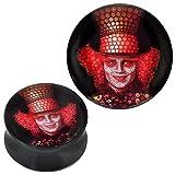 Plug Acryl Mosaik Clown mit Hut rot schwarz Piercing Ohrschmuck 08 mm