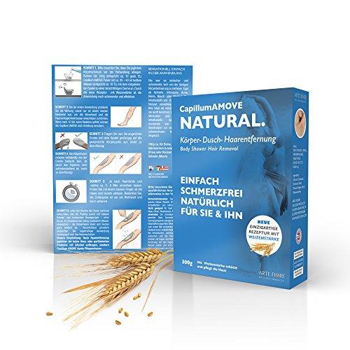 Capillum AMOVE Natural + Weizenstärke ein Natur Körper-Dusch Haarentfernungs Pulver 300g - Natürlich, Einfach Schmerzfrei - DERMATEST sehr gut- mit charakteristischem mineralischem Geruch