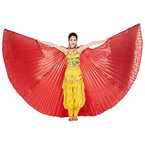 ZZM Bauchtanz Wings Festival Kostüm ägyptische Engelsflügel Karneval Performance Bekleidung Damen Kleider Umhänge mit Sticks/Stangen für Party Christmas Performance (Red) (Red Wings Kostüm)