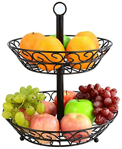 MALFI Obst Etagere Metall, Größe 30 cm, Farbe schwarz, Obstschale, dekorativer Obstkorb, 2 stöckig