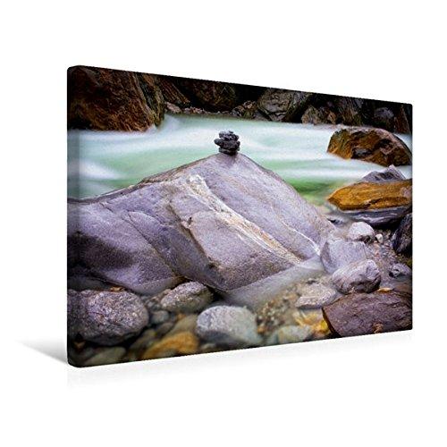 Calvendo Premium Textil-Leinwand 45 cm x 30 cm Quer, Steinmännchen im Fluss Verzasca   Wandbild, Bild auf Keilrahmen, Fertigbild auf Echter Leinwand, Leinwanddruck Natur Natur