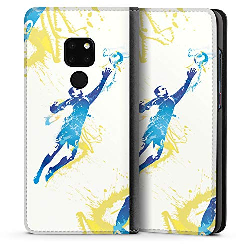 DeinDesign Leder Flip Case kompatibel mit Huawei Mate 20 Tasche Hülle Torhueter Football Fussball -