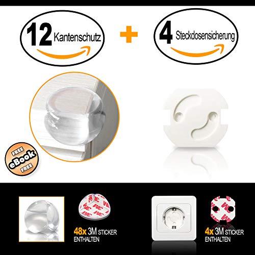 ♥Babylovit♥ Eckenschutz und Kantenschutz transparent aus Kunststoff für Tisch und Möbel- Ecken - Stoßschutz für Baby\'s und Kinder (12 Stück) Plus (4 Stück) Steckdosensicherung