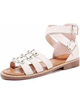 Sandalias de tacón bajo de verano femenino nuevo toe zapatos de metal hebilla decorativa estudiantes versión coreana...