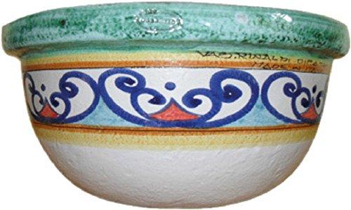 Ciotola decorata per piante e fiori in maiolica (ceramica artistica di vietri dipinta a mano) made in italy; diametro cm. 30, altezza cm. 20 – vaserie rinaldi