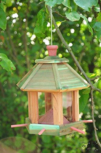 Futterhaus - Vogelhaus * / mit Beleuchtung LED-Leuchte Garten,Vogelhäuschen Garten mit 6 x Futterdosierer und Silo,wetterfest ANTIKBLAU (TÜRKIS ANTIK),türkis NEU,Vogelhäuser Vogelhaus