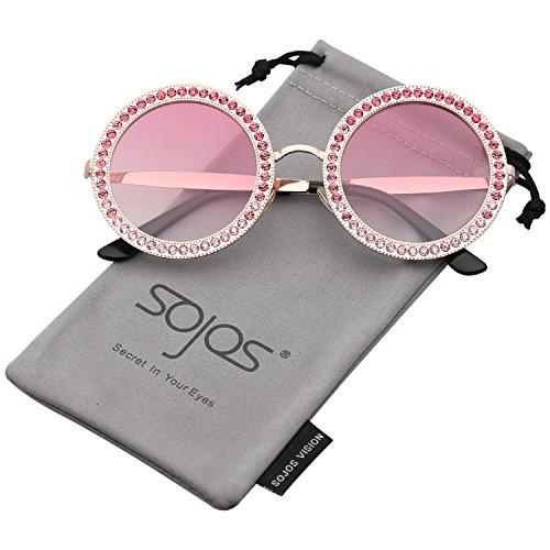 SOJOS Sonnenbrille Runde Rahmen mit Kristall Groß Retro Damen SJ1095 mit Gold Rahmen/Rosa Linse