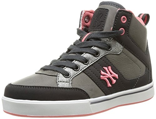 New York Yankees Sunya Jr Lace, Baskets mode fille Gris (Dk Grey/Mid Grey/Pink)