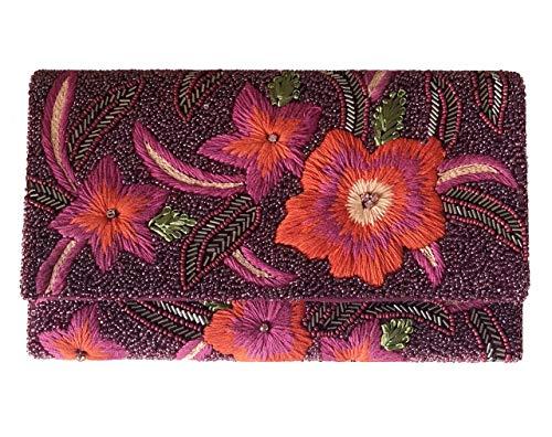 SurArt Exquisite Floral Abendtasche handbestickt verziert Handtasche für Cocktailpartys Abschlussball Handtasche für Damen Prime Weihnachten Neujahr Geburtstag Geschenk Beaded High Heel Heels