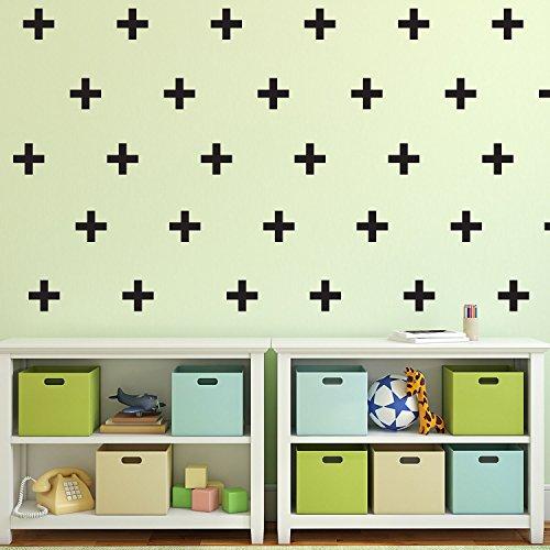 Set von 30Vinyl Wall Art Aufkleber-Kreuzen Plus-Zeichen-je 3,8x 3,8cm-Schlafzimmer Art Wand Vinyl Aufkleber-Wohnungs Wohnzimmer Vinyl Aufkleber-Kinder Raum Vinyl Wand Aufkleber -