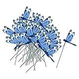 Homyl 50er Schmetterlinge auf Stick Libelle auf Stiks Gartenstecker Blumenstecker Blumentopfstecker - Libelle Blau, 30x8,5 cm