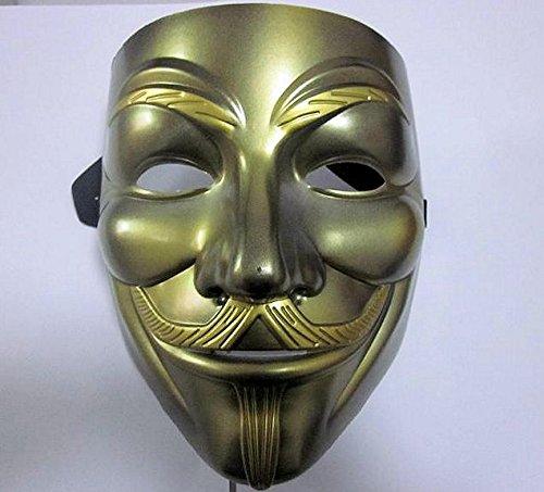 V wie VENDETTA Maske, gold Anonymous Acta Replika, Anti Demo Vendetta Maske