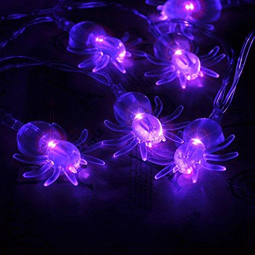 2.2m 20 LED Lichterkette Spinne Batteriebetriebene Beleuchtung für Halloween Weihnachten Hochzeit und Party Dekoration, Lila Lichtfarbe (Halloween Spinne Dekorationen)