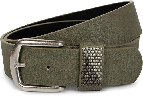 styleBREAKER Gürtel mit zweifarbigen Nieten an der Schlaufe, Nietengürtel, kürzbar, Unisex 03010088, Größe:90cm, Farbe:Oliv