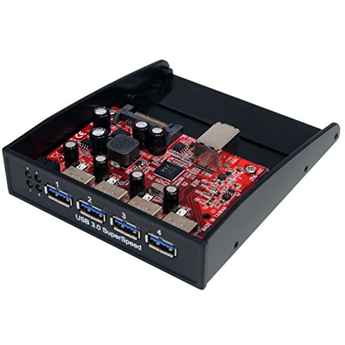 StarTech.com 4 Port USB 3.0 frontpanel Hub für 3,5 oder 5,25 Zoll Schacht - Internes Frontpanel USB 3.0 SuperSpeed Hub (Startech Hub 3 Usb)