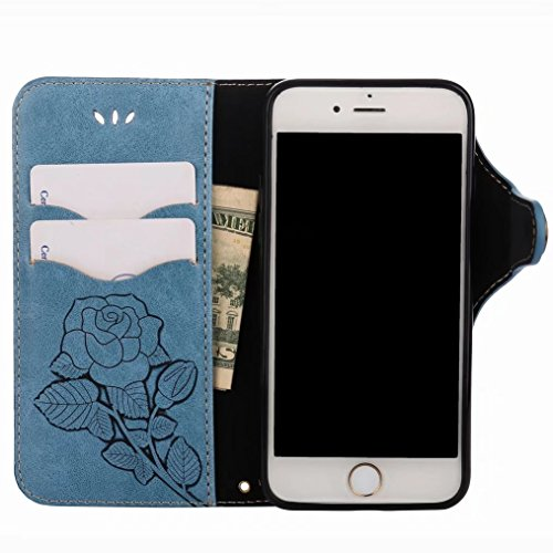 LEMORRY Apple iPhone 7 Custodia Pelle Portafoglio Guardare-Supporto Morbido interno TPU Silicone Bumper Protettivo Magnetico Slot per schede Cuoio Borsa Flip Cover per iPhone 7 con Polso Cinghia, Retr Blu zaffiro