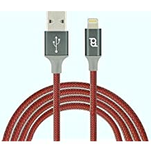 Super largo mejor calidad trenzado de nailon reforzada 3m Super largo/fuerte carga plomo para iPhone 7Plus 7se, 66S Plus 5S 5C 5, iPad Aire Pro Mini y iPod (3m, rojo)
