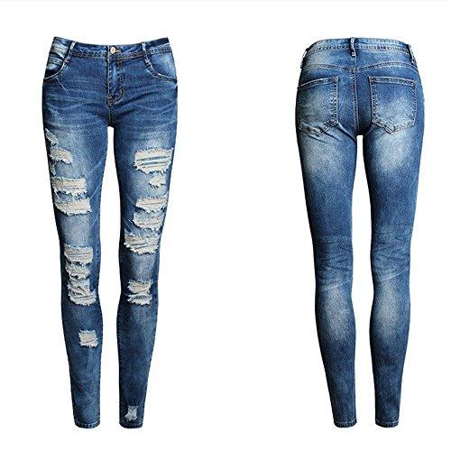 ZYUEER Jeans Elasticizzati della Vita Alta dei Pantaloni Skinny del Denim delle Nuove Donne Sexy Donna Jeans Strappati Primavera Estate Autunno Donna