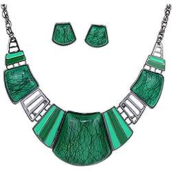 Yazilind vendimiae Collar étnico tibetano astilla verde turquesa Babero Pendientes Collar de la joyería