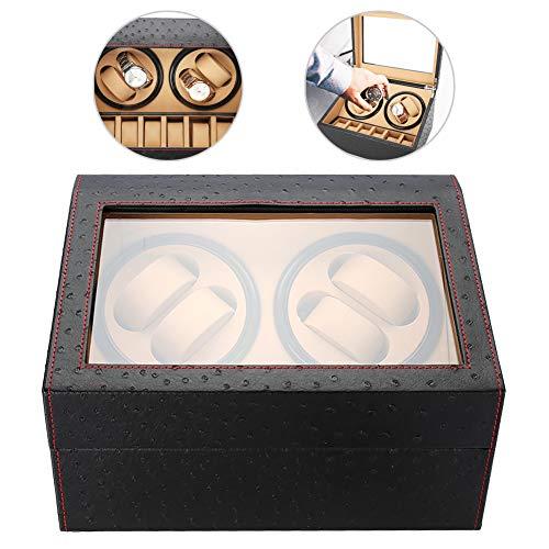 Orologi automatici a rotazione Furling Box, custodia per organizer e display, 4 + 6 griglie (Grano di struzzo)