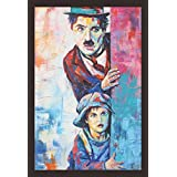 Mad Masters Charlie Chaplin And Little Kid Sneaking 1 Piece Wooden Framed Painting |Wall Art | Home Décor | Painting Art | Unique Design | Attractive Frames