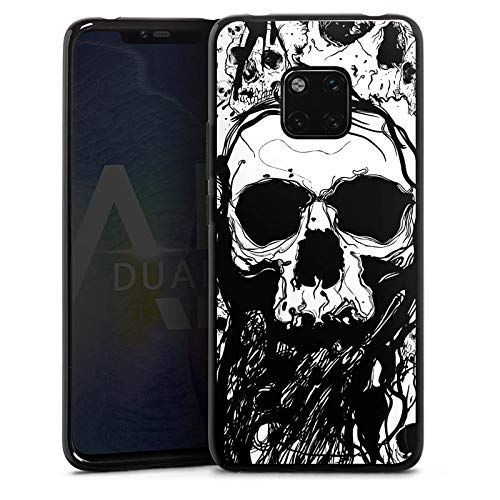 DeinDesign Silikon Hülle kompatibel mit Huawei Mate 20 Pro Case Schutzhülle Totenkopf Skull Halloween