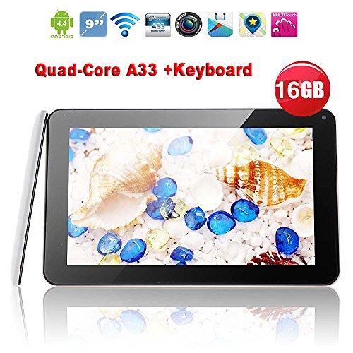 """Springdoit Tableta de 9 """" Android 4.4 1 + 16GB Accesorios para Estudiantes de Tableta Quad-Core de 9 Pulgadas - con Funda para Teclado - Blanco"""