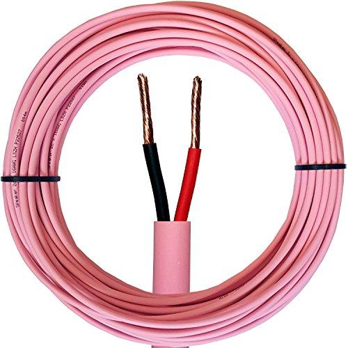 25m pink Low Smoke (LSZH/LSHF), doppelt isoliert Lautsprecherkabel-16AWG 1,3mm², reines Kupfer 100V Flex Audio Draht für Lautsprecher & Verstärker/AMP-Cablefinder