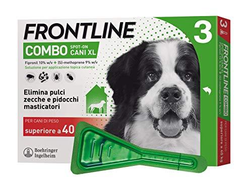 Frontline   combo spot on cani   protezione da pulci, zecche, uova e larve di pulci   3 pipette   cane xl (superiore a 40 kg)