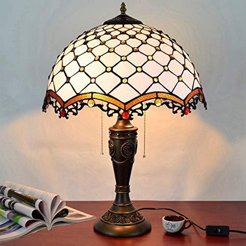 GYLTFL Tiffany Tischlampe,16 Zoll Crystal Pear Bead Vintage Tiffany Glasmalerei Lichter für Wohnzimmer, Esszimmer, Schlafzimmer, Nachttischlampe, weiß - Tiffany Crystal