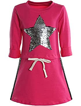 BEZLIT - Vestido - corte imperio - Estrellas - Cuello redondo - Manga Larga - para niña rosa 8 Years