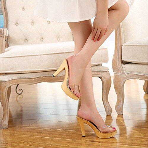 Le De De Et Colle Talons Femmes Et Printemps Cool Verre Cristal yellow Pantoufles Hauts Transparent LÉté Nouveaux HXVU56546 Poisson Chaussures Bouche Talons fvwdIqdW
