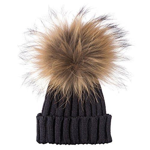 Ladies/Womens Winter Knit Beanie Ski Hat Cap With Soft Faux Fur Large Pom Pom UK Seller Same Day Dispatch!!!! (Black/Black Pom Pom)