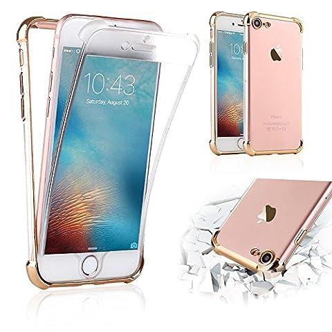 Crystal Case Iphone 7 Hülle Von in der TPU Transparent Ultra Slim 360 Grad Hülle Case - Iphone 7 Goldene Vorne Und Hinten