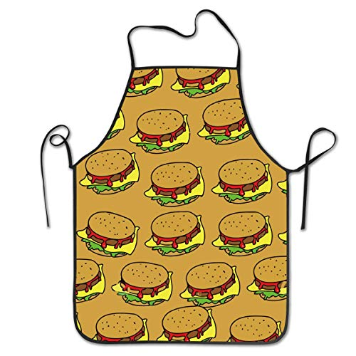 Kostüm Food Junk - HTETRERW Kitchen Aprons Hamburger Junk Food for Women Durable, Anti-Stain & Durable Women's Chef Aprons for Cooking, Baking, BBQ, Gardening, Funny Unique Waist Bib Apron