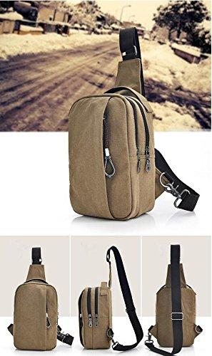 Multifunktionale Brust Canvas Tasche Herren Reise Tasche Rucksack dual Schulter Messenger Tasche Vintage Brust Pack Khaki