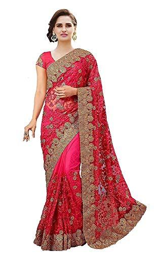 Chicplus Designer Pink Embroidery Net Saree