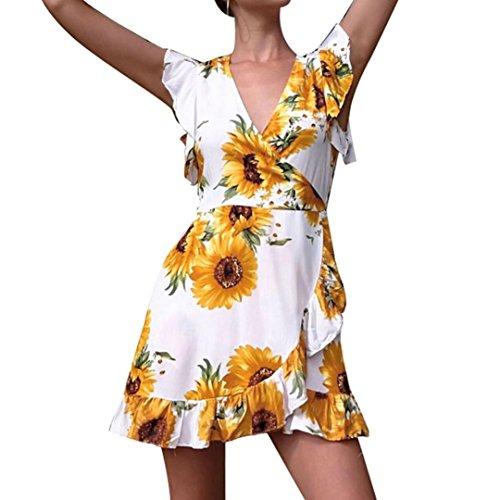 JUTOO Frauen Tief-V Bluwomendruck Saum Boho Beach Party Dress